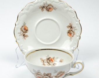 Vintage Fine China Flat Cup and Saucer Wood Rose  Pattern by Winterling Bavaria  Set of Four