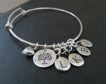 Mother of the bride gift from bride, tree of life bangle with initial, mother of the groom gift, wedding day, sterling silver