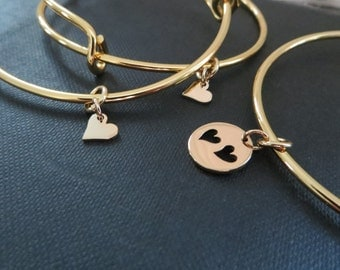 mother daughter bangle, mother and 2 daughters jewelry, gold plated, mom gift