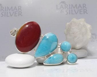 Larimar and mookaite pendant by Larimarandsilver, Phenix Island - azure Larimar and burgundy Mookaite stones, cocktail pendant, handmade - A