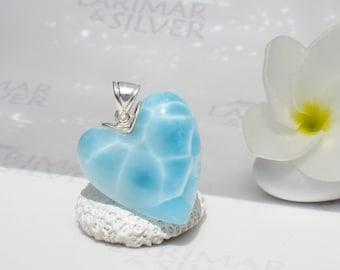 Larimarandsilver pendant, Love is in the Air - sky blue Larimar heart, topaz blue heart, crystal blue, turtleback, handmade Larimar pendant