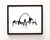 St. Louis Cityscape Print - Saint Louis Wall Art - St. Louis Skyline Print - Black and White Decor - Aldari Art