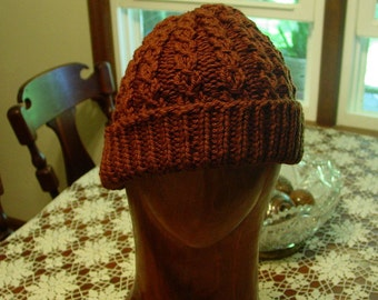 Hand knit Chunky Cabled Hat