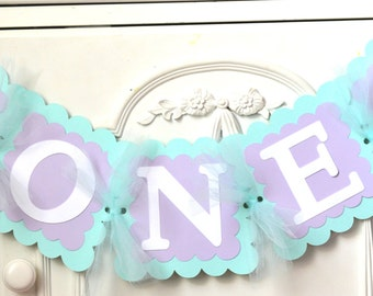 Mermaid Birthday Banner Mermaid 1st Birthday Highchair Banner Party Decorations Lavender and Mint ONE Name banner Under the Sea Baby Shower