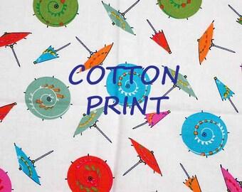 Parasol Umbrella White Print, Quilting Cotton Fabric, Summer, Pink Orange Green, half yard, B35