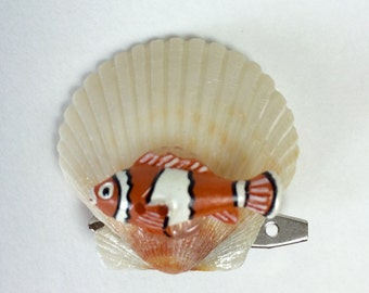 Clown Fish Hair Clip, Nemo Hair Clip, Shell Hair Fascinator, Nemo with Shell Hair Clip, Girls Hair Clip, Free Shipping