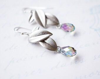 Earrings, Leaf Earrings, Botanical Earrings, Silver Earrings, Crystal Earrings, Dangle Earrings, Drop Earrings, Handmade Earrings, Gift