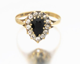 Vintage Ladies Sapphire CZ Engagement Cluster Ring Teardrop Pear 9ct 9k Yellow Gold | FREE SHIPPING | Size N.5 / 7