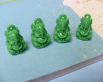 4x Green Ganesh Elephant resin Charms 23mm by 15mm