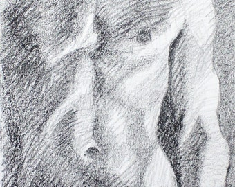 Underbite, 11x14 inches, artist crayon on paper, by Kenney Mencher  (gay art)