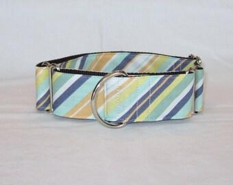 SALE Tangerine Stripe Martingale Dog Collar - 1.5 or 2 Inch - orange gray green pastel subtle calm spring summer