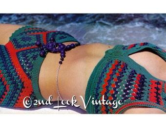 Vintage Crochet Pattern Granny Square Bikini Crop Top Hip Hugger Boy Shorts 1970s Digital Download