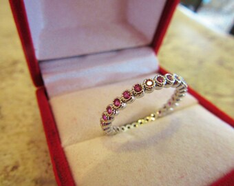 White Gold Plated CZ  Ruby Ring Size 6.5