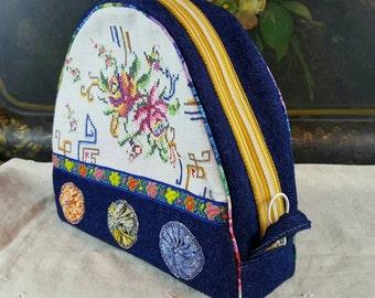 Handmade Zipper Pouch, Dopp Kit, Make-up Bag, Denim, Overnite Case, Vintage Cross Stitch Linen, Vintage Yo-yos, Woven Floral Trim