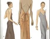 Backless Bias Cut Evening Dress Halter Neckline Back Bow Back Godet Shaped Hemline Vogue 7365 Sizes 6, 8, 10 Uncut FF Sewing Pattern
