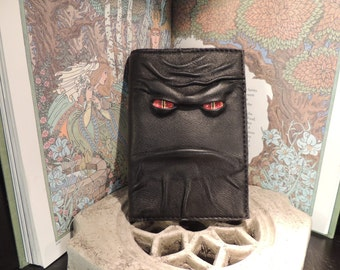Mythical Beast Book-Refillable journal cover (Black leather with Red eyes)