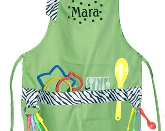 Personalized Lime & Zebra Print Child's Cooking Apron Boy or Girl