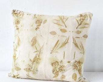 Green Willow Eco-Print Pillow