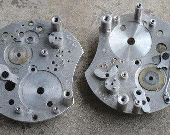 Vintage clock parts -- steam punk -- set of 2 -- D18