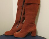 Go Go Boots brown suede chunky heel mid calf 1960s vintage Gimbels 6 6 1/2