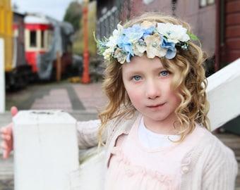 Blue halo,Ivory and vintage blue halo,flower crown,fall headband,fairy headband,flower girl headband, ready to ship ages 1-10yr