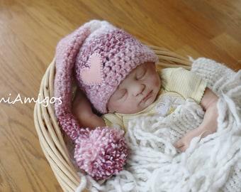 SALE - Crochet Strawberry Cream Pixie Hat (Newborn)