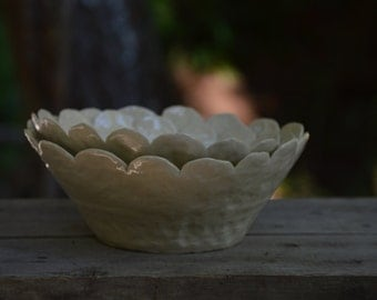 Large White Serving Bowl with Scalloped Edge