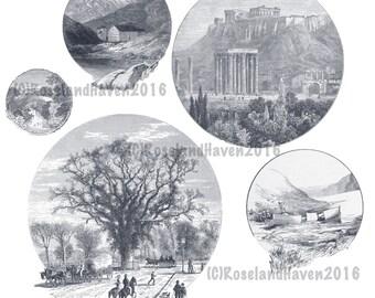 Vintage Landscape Photoshop Brush Pack 1 Digital Download, Landscape Photoshop Brushes, Vintage Clipart, Commercial Use Clipart,
