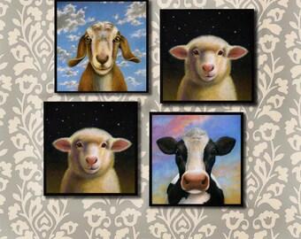 Farm Coasters, Barnyard Coaster Set,  Cow, Sheep, Goat, Country Decor, Housewarming Gift, Hostess Gift, Farm Decor, Animal Lover Gift