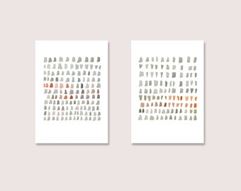 Minimal watercolor paintings Set of two giclee prints Grey coral red dots  minimal painting abstract art
