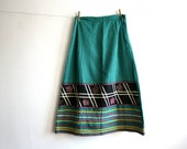 SALE Emerald Green Gingham Mexican Skirt