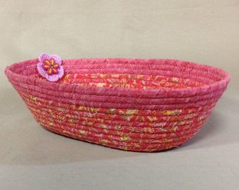 Coiled Fabric Bowl, Oval, Pink