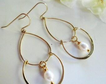 Gold and Pearl Earrings, Chandelier Earrings, Tier Earrings,  Gold Crescent, Bridesmaid Earrings