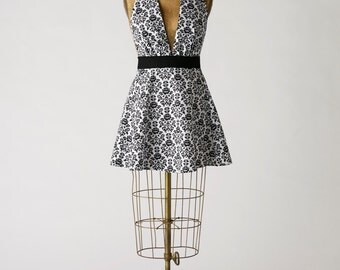 Womens Apron Sexy Marilyn Full Apron in Damask