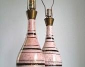 Pastel Pink Striped Mid Century Lamp Set