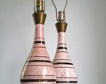 Pastel Pink Striped Mid Century Lamp Set