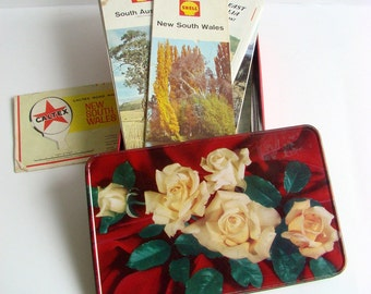 Tin Full of Old Road Maps, Touring Maps, Foldout Maps, Chocolate Tin, Australian Maps, Shell Maps, RACV, 1960s, 1970s, 1980s, Driving Maps