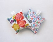 Set of Two Silk Lavender Sachets Bags in Bold Floral Pattern Vintage Japanese kimono Fabric