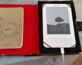SALE REDUCED Unique book look cover, Custom padded, Book Style Case, cover for (included) Kindle, Keyboard 3G WiFi White, with charging cord