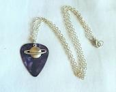 Purple Saturn Planet Guitar Pick Necklace - Customizable Colors