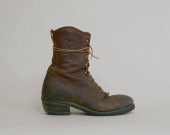 Brown Leather Work Boots Vintage 80s Georgia Lace Up Roper Steel Toe Ankle Low Heel 1980s Western Kilties / Men's 11 Women's 12.5