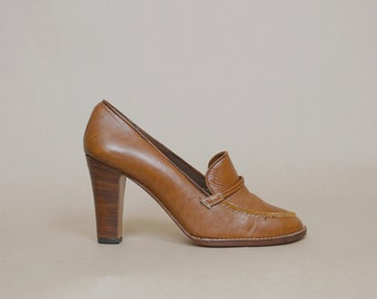 70s Loafers Tan Leather High Heels Stacked 1970s Hippie Pumps Brazil / Size 8