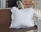 Ruffled Linen Throw Pillow