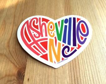 Asheville Heart Sticker, Asheville North Carolina, Asheville Pride Bumper Sticker, Love Asheville Water Bottle Sticker, Asheville Love Decal