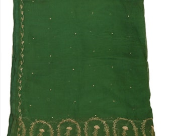 Vintage Shawl/Stole. Regency Style.  Emerald Green Chiffon, gilt embroidery.