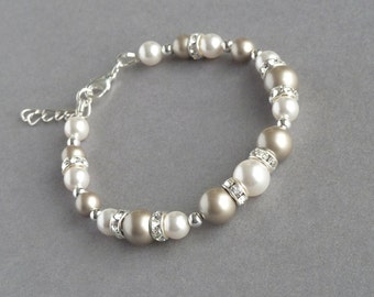 Champagne Pearl and Crystal Bracelet - Taupe and White Pearl Bracelets - Beige Bridesmaid Jewellery - Platinum Bridal Party Gifts - Wedding