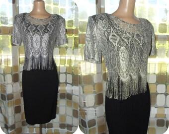 Vintage 80s Dress   1980s Fringe Dress   80s Does 20s   Silver Metallic Fringe   Retro Flapper   2 Piece Dress Set   Size 8 M/L