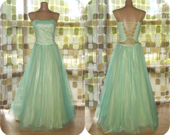 Vintage 90s Dress | 1990s Formal Gown | Tulle Fairy Princess Dress | Corset Back Ball Gown | 2 Piece Party Prom Dress | AQUA YELLOW | Sz 5/6
