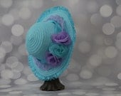 Tea Party Hat; Turquoise Easter Bonnet with Satin Ribbon; Girls Sun Hat; Blue Easter Hat; Sunday Dress Hat; Derby Hat; 16212