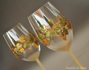 Wine Glasses, Grape Glasses, Wedding Glasses, Harvest Wedding, Autumn Wedding, Fall leaves Glasses, Hand Painted, Set of 2